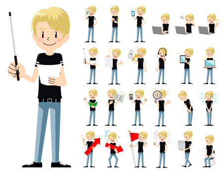 It is a character set of a man. There are gestures and poses mainly explained. Its vector art so its easy to edit. Ilustrace