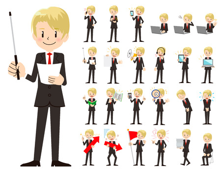 It is a character set of a businessman. There are gestures and poses mainly explained. Its vector art so its easy to edit. Иллюстрация