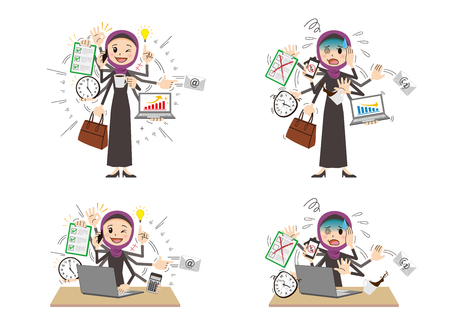 Arab woman to do a multi-tasking.