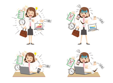 Business woman to do a multi-tasking.
