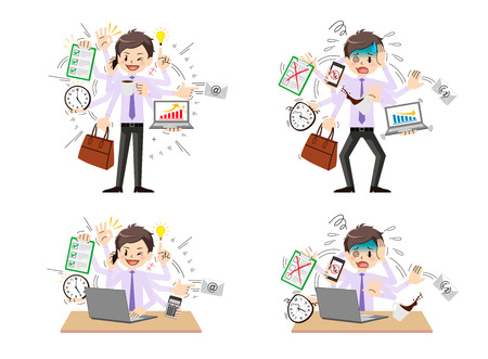 Businessman to do a multi-tasking. Ilustrace