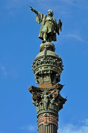 barsa: Columbus Column on a sunny day in Barcelona, Spain.
