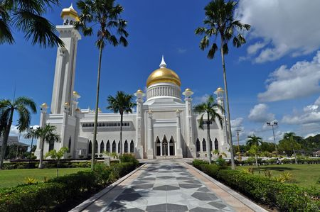 Mosque in Brunei with golden cupolas.