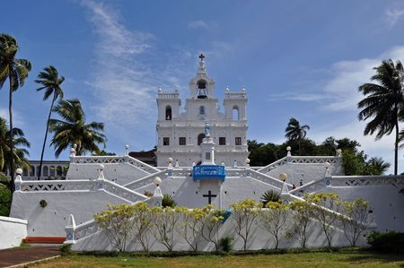 church bell: Catholic church in Goa, India. Picture taken during the sunny day. Stock Photo