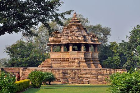 khajuraho: One of brahman temples in Khajuraho, India. Stock Photo