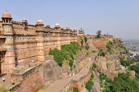 buddhist structures: Famous Gwalior fort in Madhya Pradesh, India.