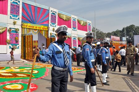 OLD DELHI, INDIA - 24 OCTOBER, 2009: An unidentified group of indian security guards patrol at the entrance to ISKCON celebration on October 24, 2009. ISKCON means International Society for Krishna Consciousness.