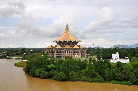New parliament building and Fort Margherita in Kuching, Sarawak, Borneo.