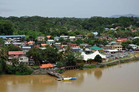 Aerial view of Kuching, the capital of Sarawak, Borneo. Stock Photo - 8013161