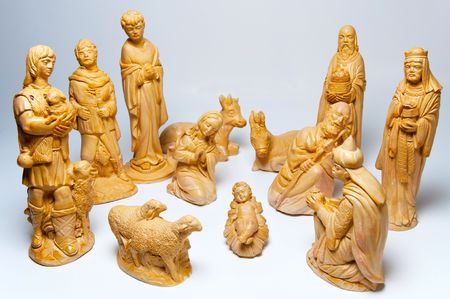 Picture of Christmas creche made of wooden figures. photo