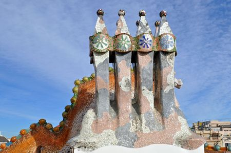 antoni: BARCELONA, SPAIN - 30 DECEMBER, 2009:  The arched roof and complex chimney of Casa Batllo on December 30, 2009, a building restored by Antoni Gaudi. The facade is decorated with a mosaic made of broken ceramic tiles. Editorial