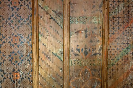 Detail of old wooden ceiling, horizontal shot. photo