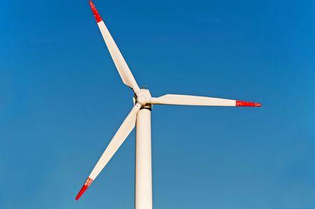 Sollar windmill on the blue background, horizontal shot. Stock Photo - 8157633