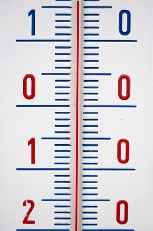Detail of mercury thermometer with Celsius degrees. photo
