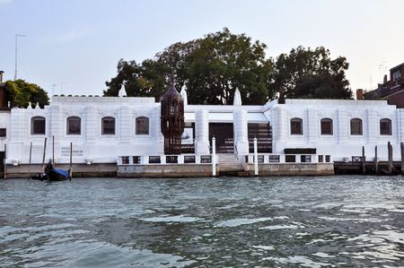VENICE, ITALY - 29 SEPTEMBER 2009: The Peggy Guggenheim Collection as seen from the Grand Canal in Venice on September 29, 2009. It is one of several museums of the Solomon R. Guggenheim Foundation