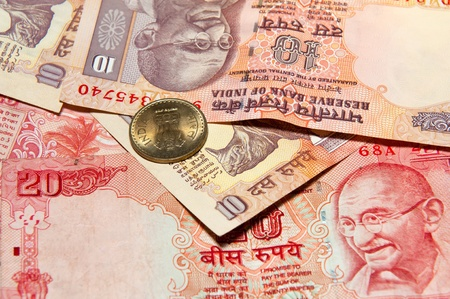 gandhi: Indian rupee notes with portraits of Gandhi. Stock Photo