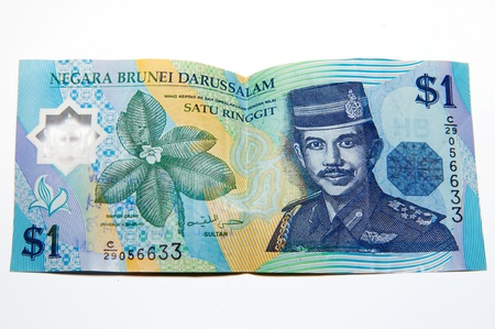 Picture of Bruneian currency - dollar - on a white background. photo