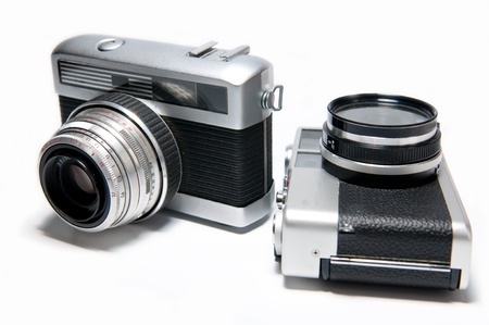 Picture of two old cameras on a white background. Stock Photo - 8336448