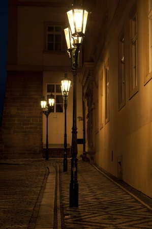 Street lamps during the nighttime, Prague, Europe. photo