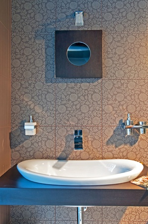 Picture of modern and trendy bathroom, horizontal shot. photo