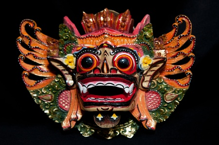 horrifying: Traditional Balinese mask on a black background.
