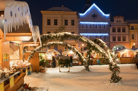 weihnachtsmarkt: Christmas market during the nighttime, Litomerice, Czech Republic. Stock Photo