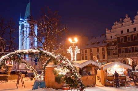 christkindlmarkt: Christmas market during the nighttime, Litomerice, Czech Republic. Stock Photo
