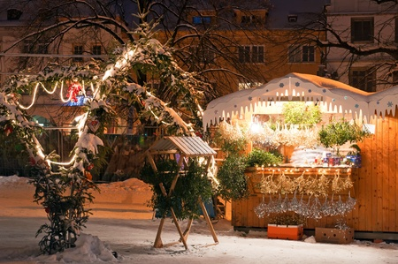 Christmas market during the nighttime, Litomerice, Czech Republic.  photo
