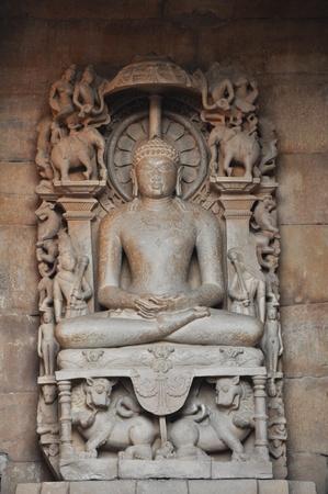 khajuraho: Sitting Buddha in Khajuraho temple in India.