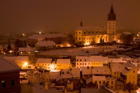 Litomerice during the winter nighttime, Czech Republic. photo