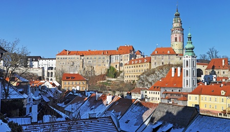 Panorama of Cesky Krumlov, city protected by UNESCO. photo