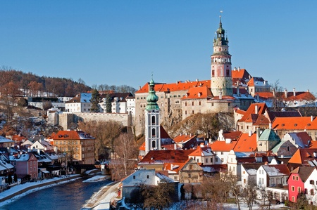 View at Cesky Krumlov, city protected by UNESCO. Stock Photo