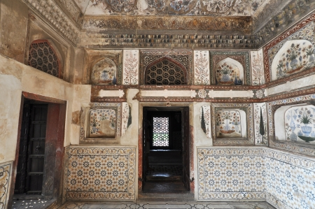 AGRA, INDIA - 2 NOVEMBER 2009: Picture of unique interior of the Baby Taj Mahal on November 2, 2009. Often described as jewel box, the tomb of Itimad-ud-Daulah (