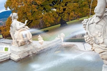 CESKY KRUMLOV, CZECH REPUBLIC - 24 OCTOBER, 2010: Picture of historic fountain in a Castle park in UNESCO city Cesky Krumlov on October 24, 2010. Cesky Krumlov is a UNESCO World Heritage Site since 1992.