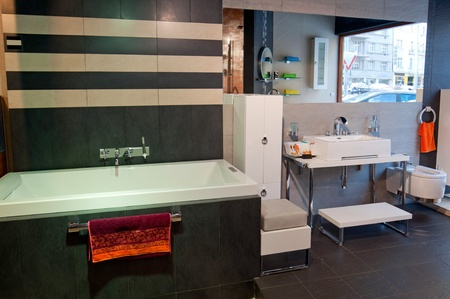 PRAGUE, CZECH REPUBLIC - 30 NOVEMBER, 2010: Picture of a modern and trendy bathroom studio on November 30, 2010.