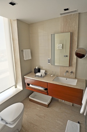 glass partition: AMRITSAR, INDIA - 25 OCTOBER, 2009: Picture of a modern and trendy hotel bathroom in 5 star hotel in India on October 25, 2009.