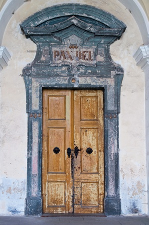 BROUMOV, CZECH REPUBLIC - 29 OCTOBER 2010: Picture of historic Broumov Monastery door on October 29, 2010. Broumov Monastery, a national monument, was established together with the provostry on the Broumov castle by the Benedictines prior to 1322.