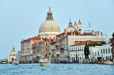Motorboats and Venetian Architecture on the Grand Channel. Stock Photo