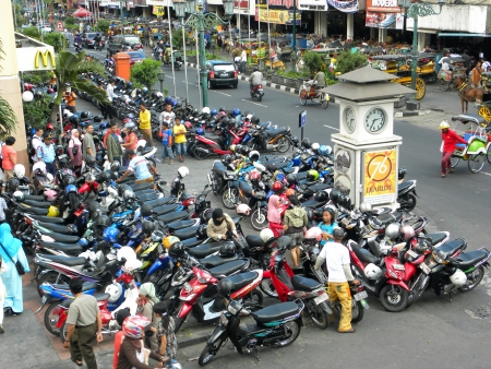 YOGYAKARTA, INDONESIA - 7 JULY, 2009: Aerial view of Yogyakarta with its typical hundreds of motorbikes on July, 7. Motorbikes is the easies and most common way of transportation in Yogyakarta.