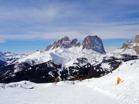 Ski Resort during the Wintertime, the Alps, Italy. photo
