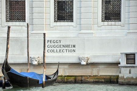 VENICE, ITALY - 29 SEPTEMBER 2009: The Peggy Guggenheim Collection as seen from the Grand Canal in Venice on September 29, 2009. It is one of several museums of the Solomon R. Guggenheim Foundation.