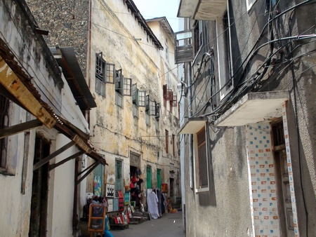 Street in Stone Town in Zanzibar, Tanzania. The town has been included in UNESCOs World Heritage Sites in 2000.