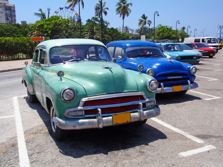 Detail of colorful group of vintage American cars. Stock Photo