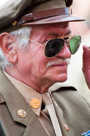 PRAGUE, CZECH REPUBLIC - 29 APRIL, 2011: Picture of an American veteran dressed in American uniform of World War Two on April 29, 2011. It is a part of celebration of the fall of German army in the Czech Republic during WWII.