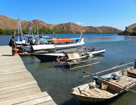 RINCA, INDONESIA - 1 JULY, 2009: The view of small port of Rinca island on July 1, 2009. The port is the only way how to enter the Komodo National Park, home to the world's largest lizards (