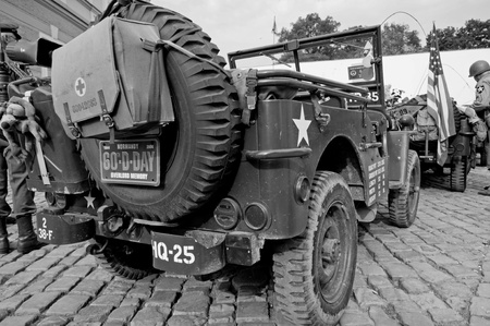weaponry: PRAGUE, CZECH REPUBLIC - 29 APRIL, 2011: Picture of an American historical Jeeps of Old Car Rangers club on April 29, 2011. It is part of reenactment event - the fall of German army in Prague in 1945. Editorial