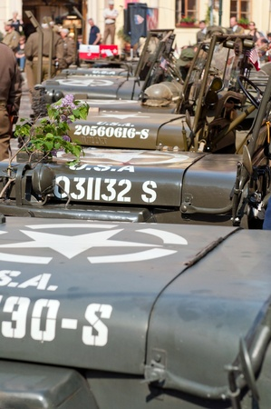 PRAGUE, CZECH REPUBLIC - 29 APRIL, 2011: Picture of an American historical Jeeps of Old Car Rangers club on April 29, 2011. It is part of reenactment event - the fall of German army in Prague in 1945. Stock Photo - 9638258
