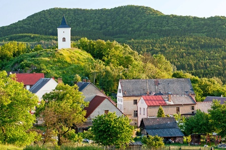 rural town: View of traditional village, picture taken in the Czech Republic. Stock Photo