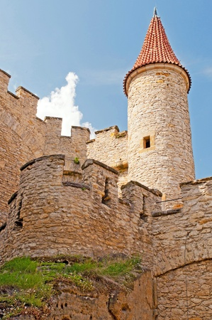 crenellated tower: Medieval castle Kokorin viewed from tower, Czech Republic. Stock Photo