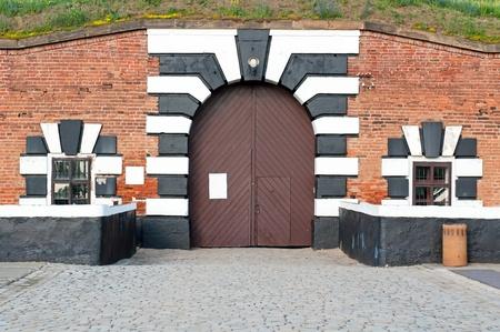 terezin: Vecchio forte a Terezin, Repubblica Ceca. In questo � oggi una parte del monumento commemorativo per il ghetto ebraico, che era di Terezin durante la seconda guerra mondiale.